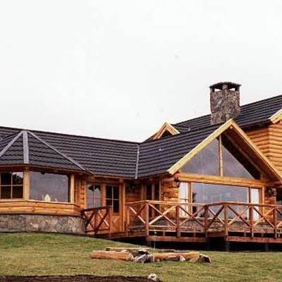 Cabaña de madera de troncos