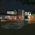 Fachada interior noche casa Jojutla