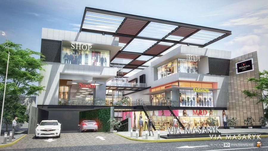 Foto plaza comercial en mazaryk polanco de bertely 3d for Locales comerciales modernos exterior