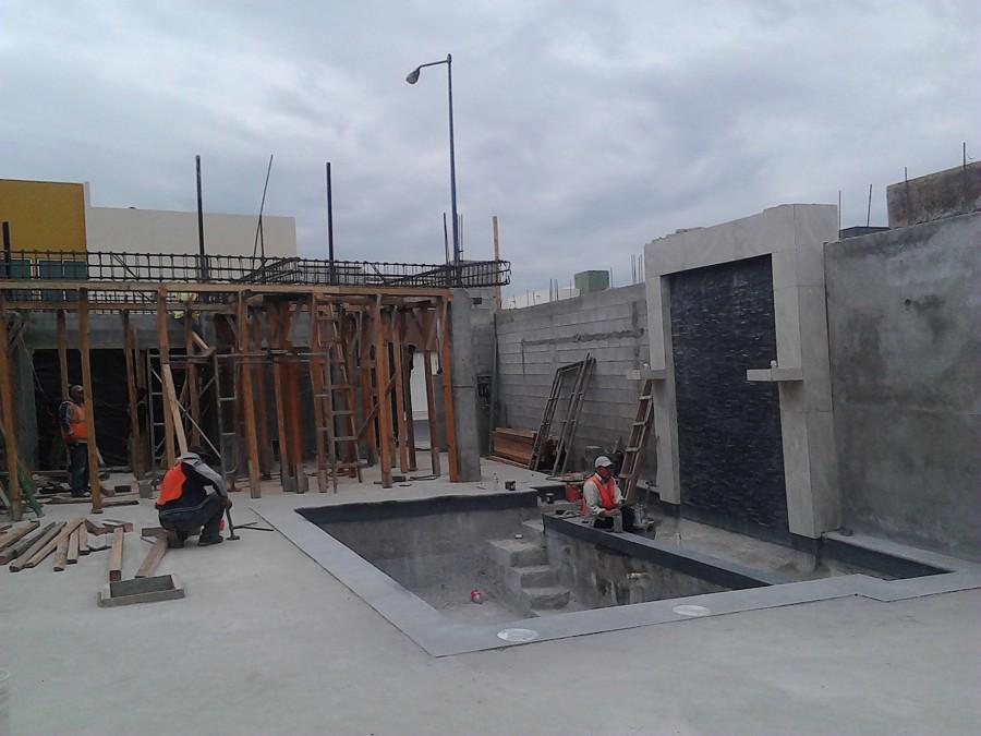 Foto alberca chapoteadero y muro lloron cortinas de agua for Construccion de albercas paso a paso