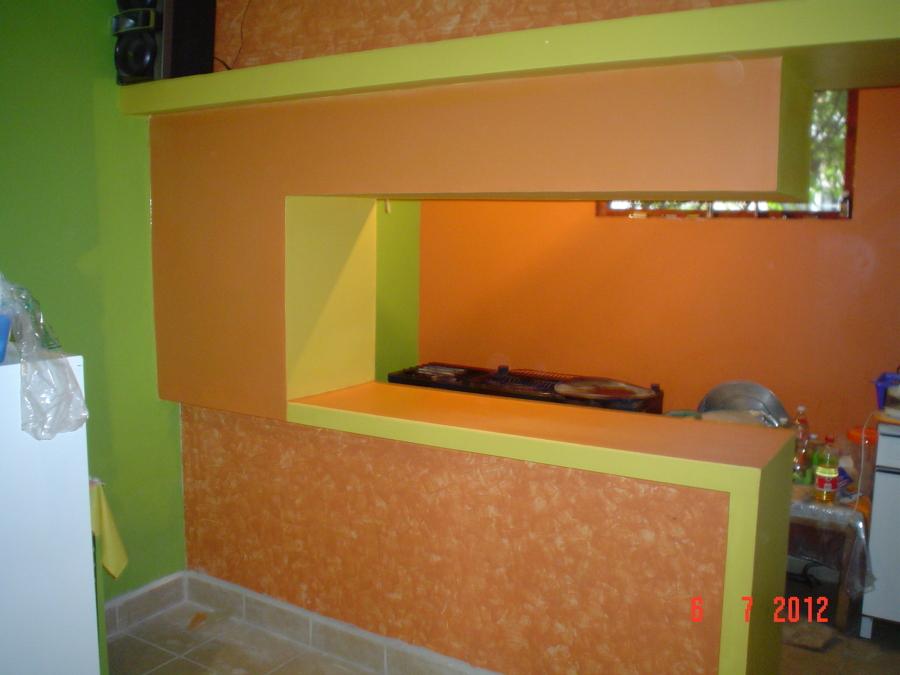 Foto barra para supercocina de tablaroca home design for Como hacer una barra de cocina