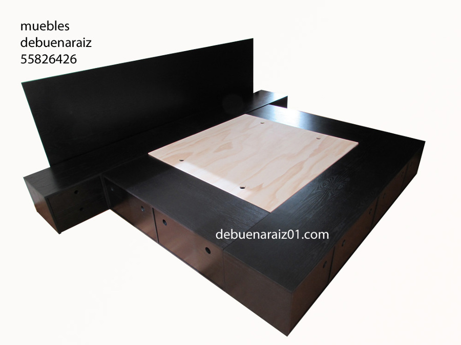 Foto base para cama beta king size de taller de muebles for Base de cama queen size con cajones