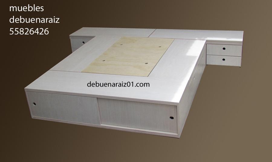Foto base para cama beta zapatera y buros 7 de for Base para cama matrimonial minimalista
