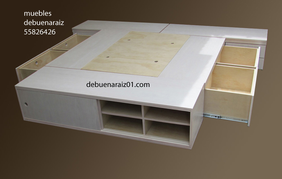 Foto base para cama beta zapatera y buros 7 de for Base de cama queen size con cajones