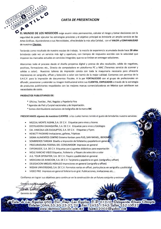 Foto: Carta de Presentacion de Diseños & Impresos Castillo #15747 ...