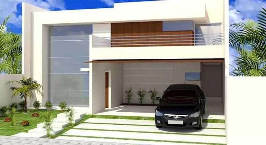 Foto casa con cochera del lado derecho de la fachada de for Casas minimalistas modernas con cochera subterranea