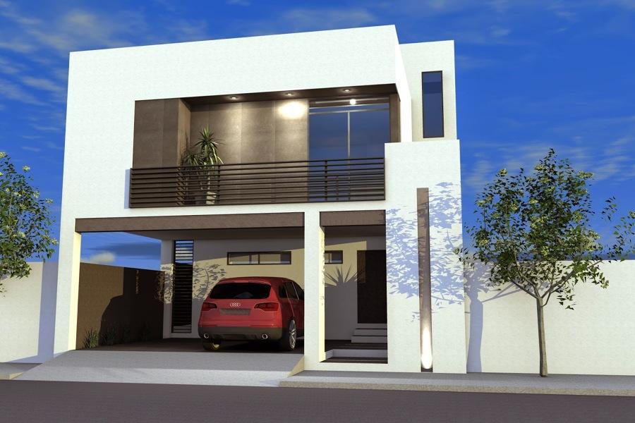 Foto casa con terraza al frente en planta alta de for Casas con terrazas minimalistas