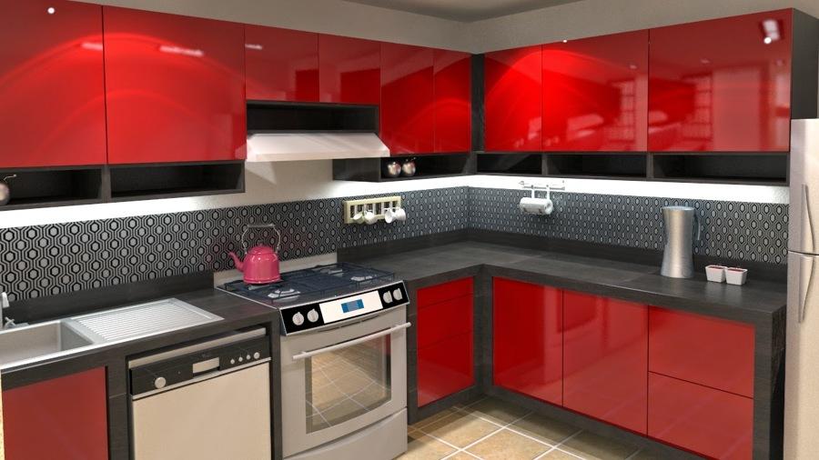 Foto cocina rojo negro de cocinas essencial 250144 for Habitissimo cocinas
