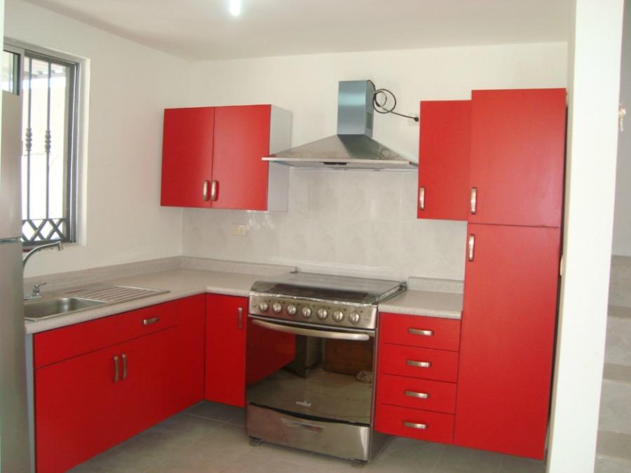 Foto cocina roja de cocinas y closets del valle 67793 for Modelos de cocinas integrales en escuadra
