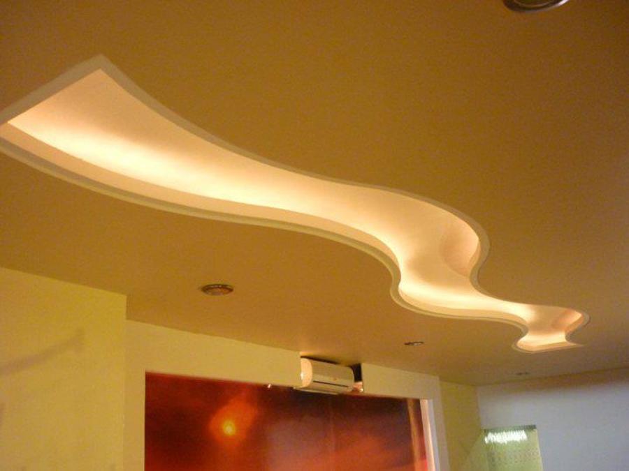 Foto plafon recidencial decorativo de tablaroca for Plafones decorativos pared