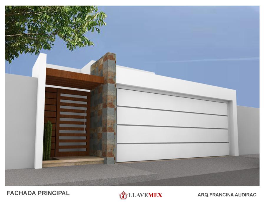 Foto cochera con fachada zona las siete gotas de llavemex for Fachada de casas modernas con porton