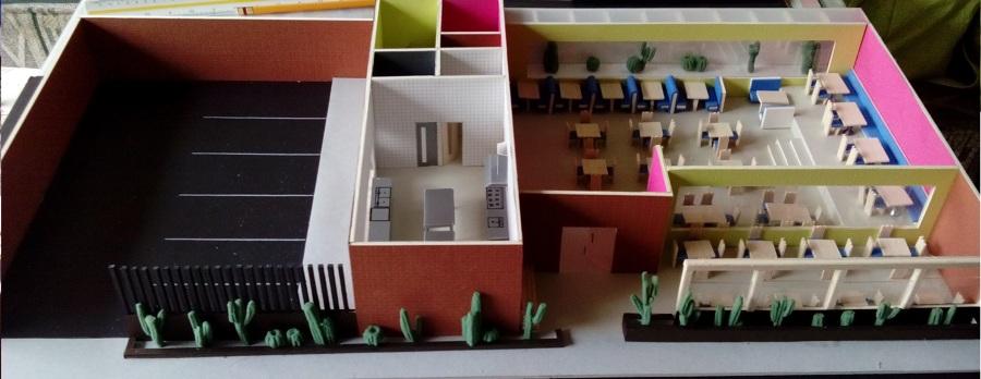 Foto maqueta de restaurante mexicano de punto2 for Planos de restaurantes modernos