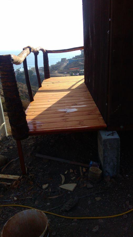 Curación de machimbre en terraza