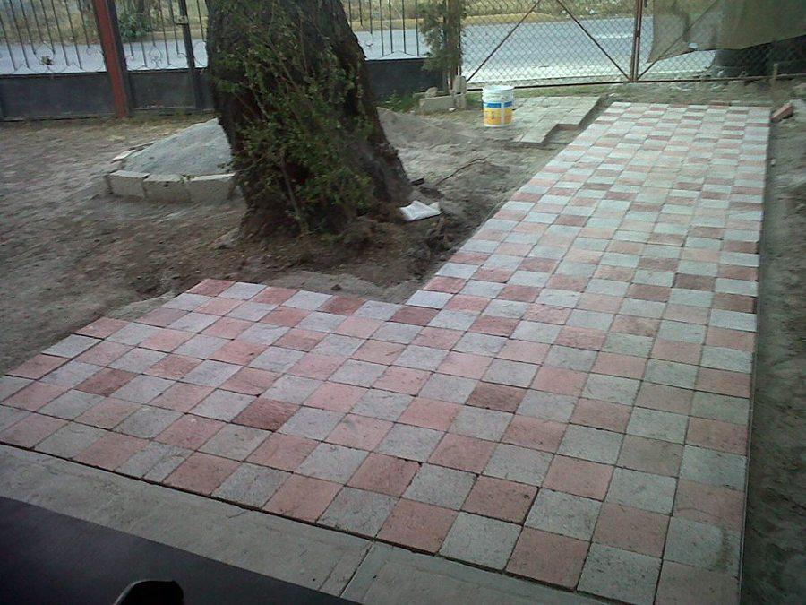 Foto instalacion de adoquin de arq int arquitectura e for Decoracion de jardin con adoquin