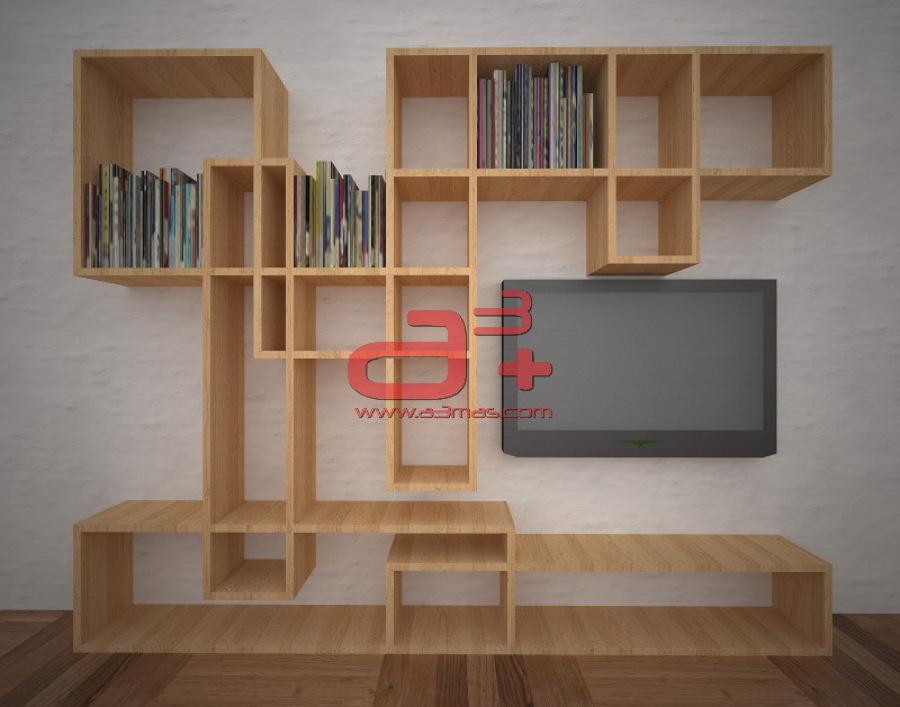 Foto librero para sala de tv de a3 62914 habitissimo for Libreros minimalistas para oficina