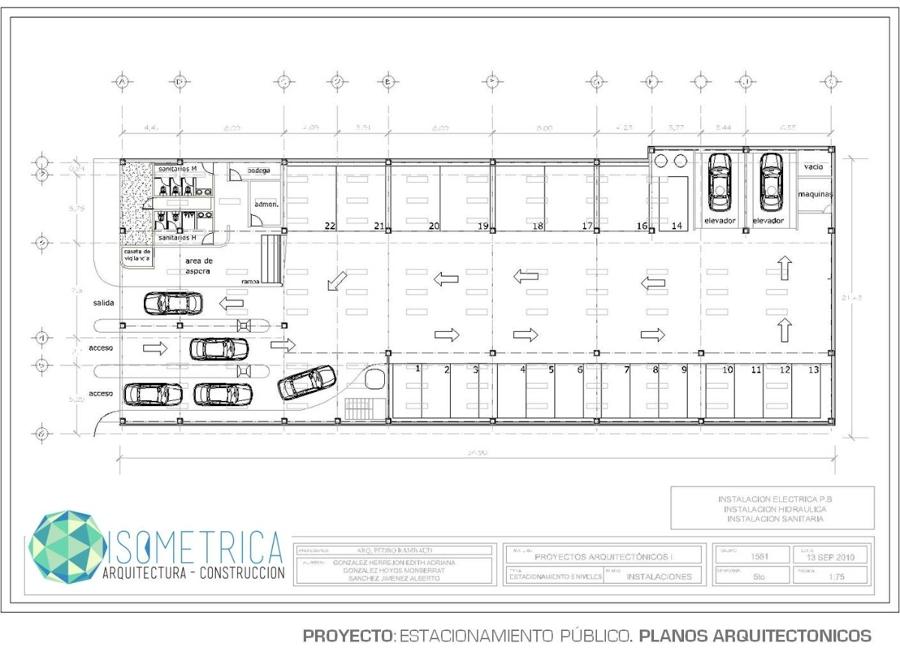Foto plano arquitectonico estacionamiento de isometrica for Que es un plano arquitectonico