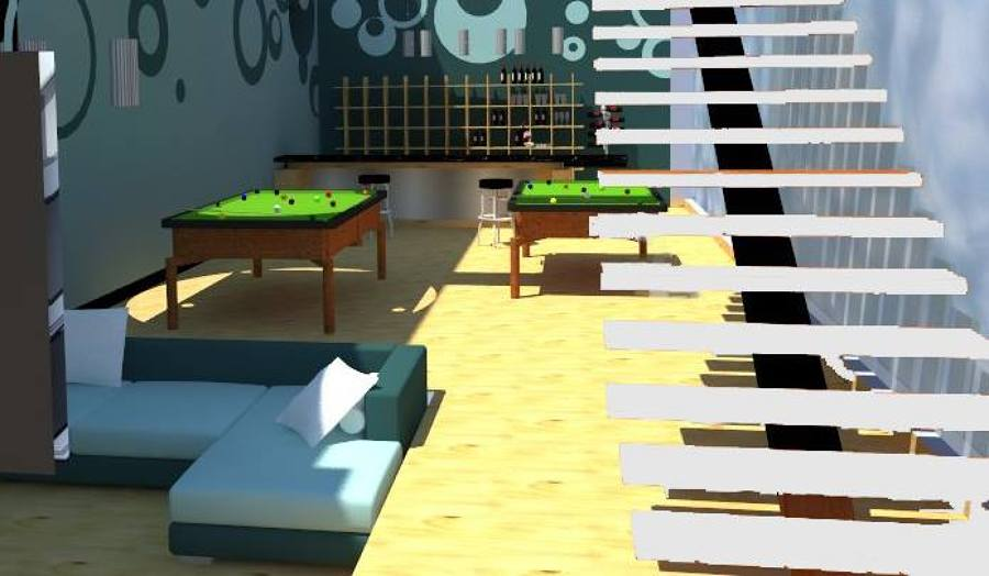 Propuesta doble altura con sala de entretenimiento