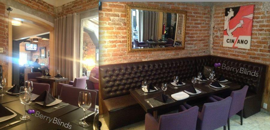 Foto sillones y cortinas restaurante parloteo de berry for Decoracion de banos de restaurantes