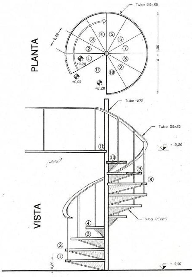 Foto plano escalera de constructora martinez 134006 - Escalera caracol prefabricada ...