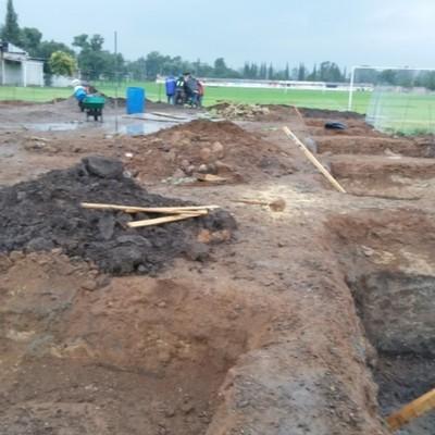 Excavación de terreno para zapatas