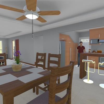 Salacomedor con vista a la cocina
