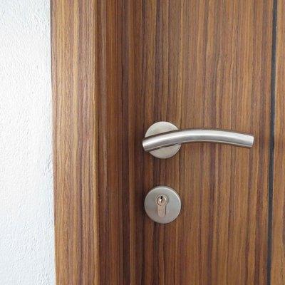 Detalle de cerradura de acero inoxidable en puerta de contrachapado de palo de rosa