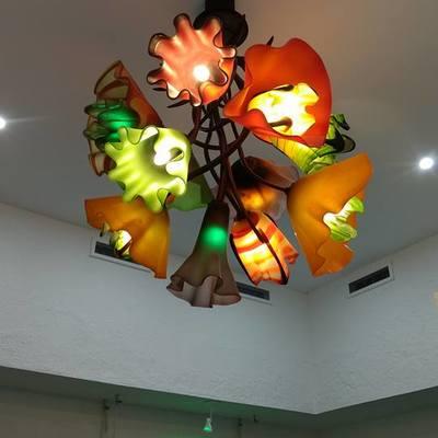 Luminaria con lámparas LED, flores vidrio soplado Too Well Pilates