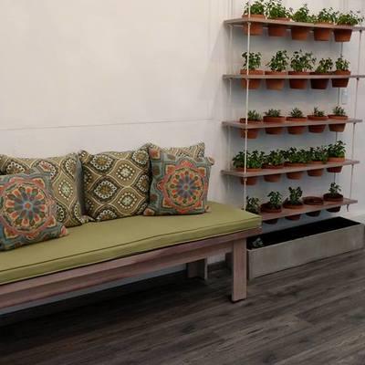 Plantas interiores para maceteros colgantes y banca Too Well Pilates