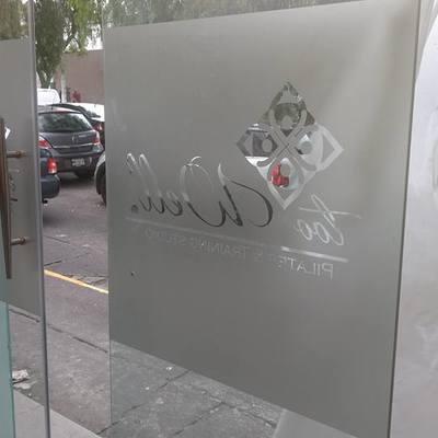 aplicación de viniles en puerta de entrada con logotipo Too Well