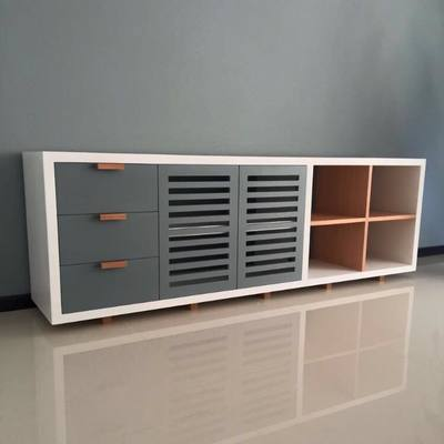 Trinchador en mdf laca blanco y gris y madera maciza de encino