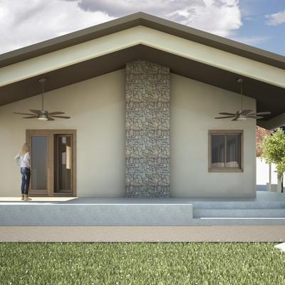 Fachada frontal casa de campo