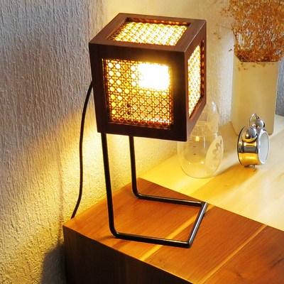 Lámpara de colección en contrachapado de tzalam y bejuco al natural