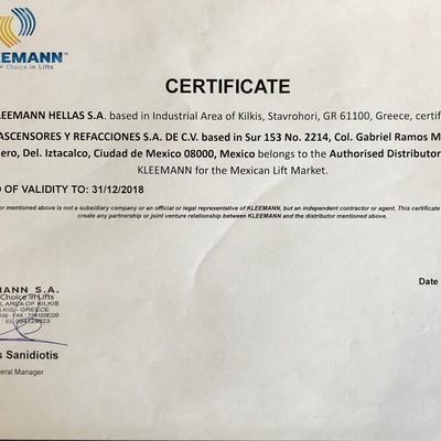 Certificado Distribuidores Kleemann Elevadores