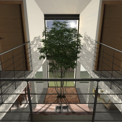 Interior a doble altura en proyecto Zibatá en QRO