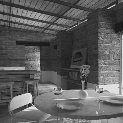 Sala-comedor casa de campo