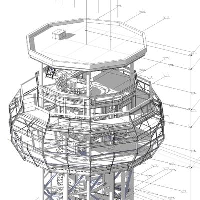 Constructivo de torre de control aéreo
