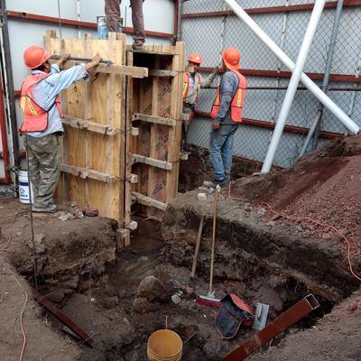 Armado de cimentación para colado con concreto.