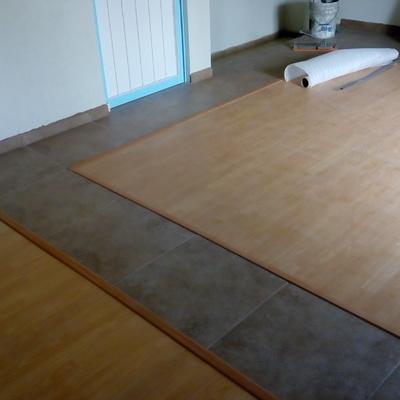 Colocación de piso laminado.