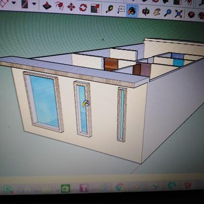 Fachada en modelo 3D squetchup