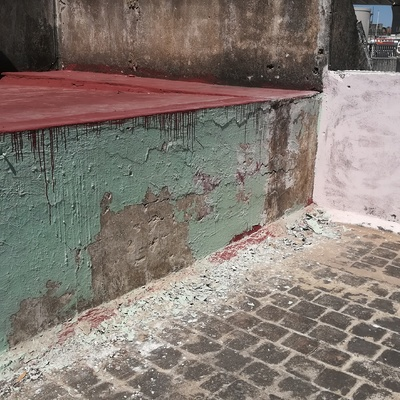 ANTES Reparación de filtración por muro
