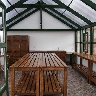 Vista de entrada principal del interior del invernadero.