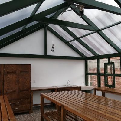 Vista lateral, interior invernadero.