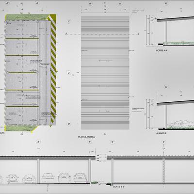 Diseño de obra Exteror, Planta Arquitectónica Estacionamiento.
