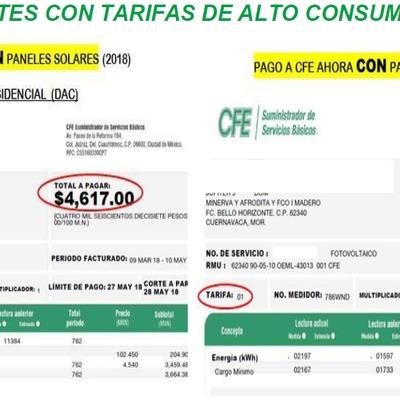 RECIBO EN TARIFA RESIDENCIAL SIN PANELES Y CON PANELES FOTOVOLTAICOS