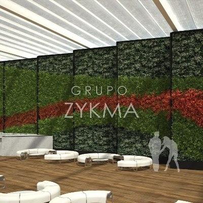 Render Muro verde natural