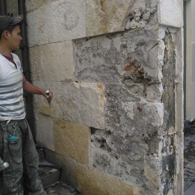 Retiro de piedra en muro