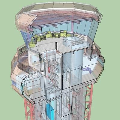 Sección de cabina de torre de control