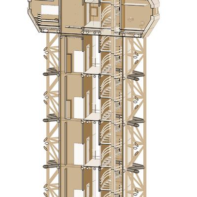 Sección vertical de Torre de Control