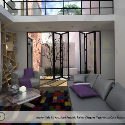 Casa Bravo, Vista sala-Jardín interior.
