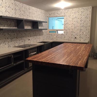 Cubierta de Isla de cocina, madera de teca.